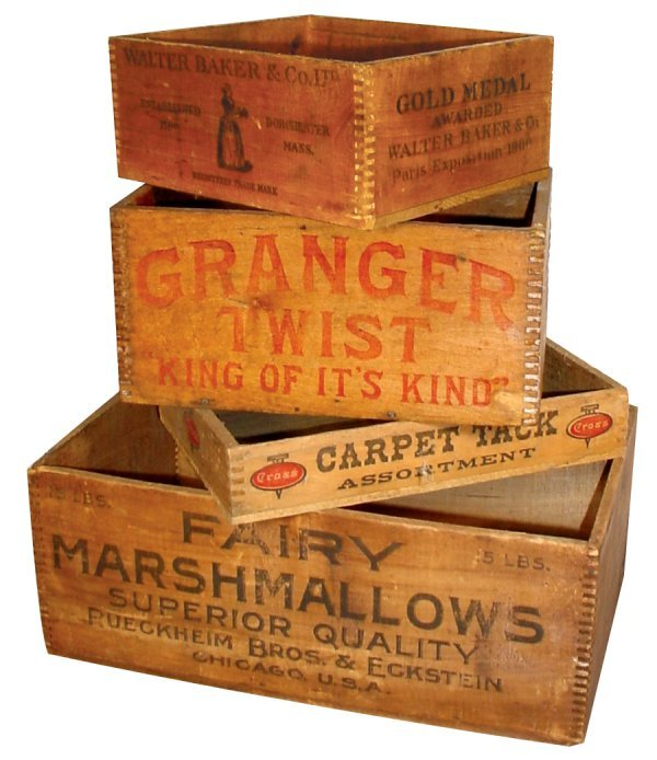 13: Wooden advertising boxes (4), Fairy Marshmallows, W