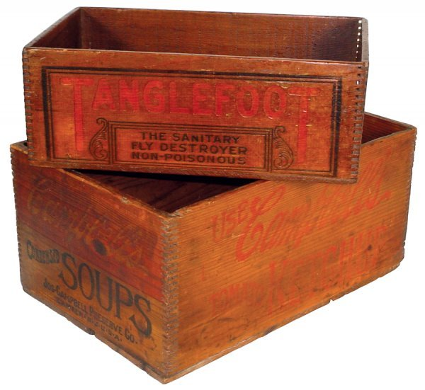 14: Wooden advertising boxes for Campbell Soups & Tangl