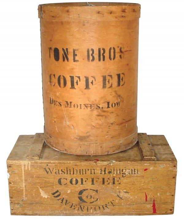 16: Wooden advertising box for Washburn Halligan Coffee