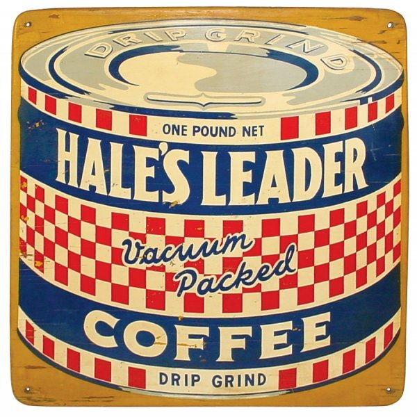 17: Coffee sign, Hales Leader Coffee, colorful litho on