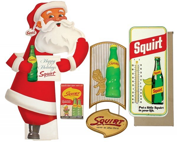 20: Squirt thermometer, molded plastic sign, cdbd Santa