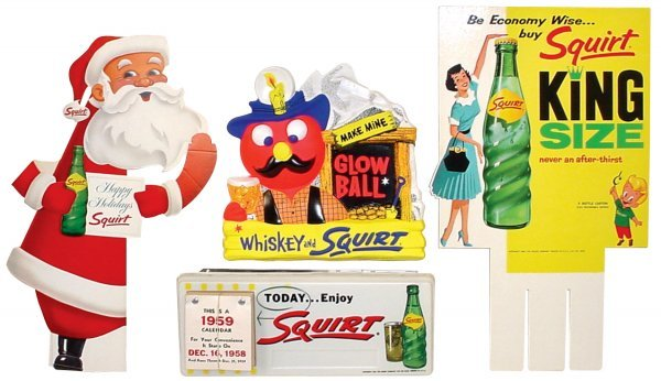21: Squirt light-up calendar sign, Santa carton display