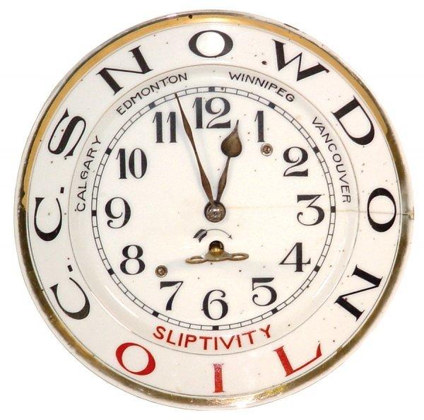 35: Advertising oil clock for C.C. Snowdon Sliptivity O