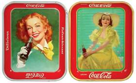 231 CocaCola serving trays 2 1938 Girl in Yellow D