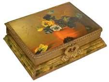 326: Victorian photograph album w/music box, celluloid