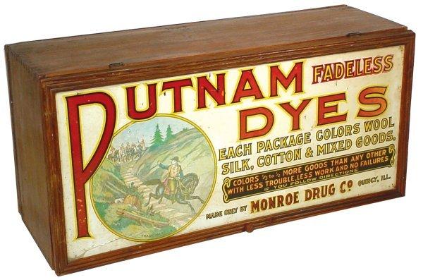 452: Putnam Dye cabinet, wood w/colorful litho on metal