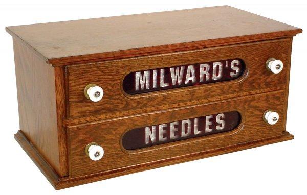 453: Needle cabinet, Milward's, oak 2 drwr case w/ruby