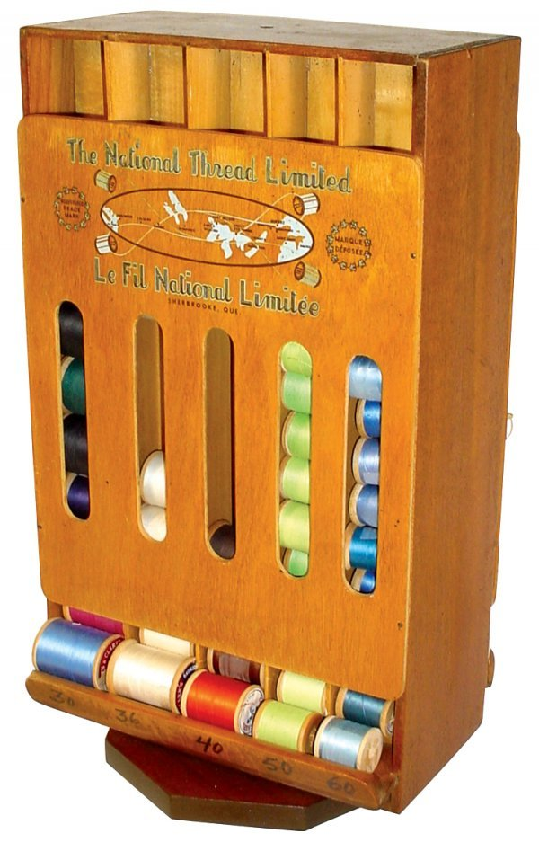 456: National Thread revolving display, 2-sided wooden