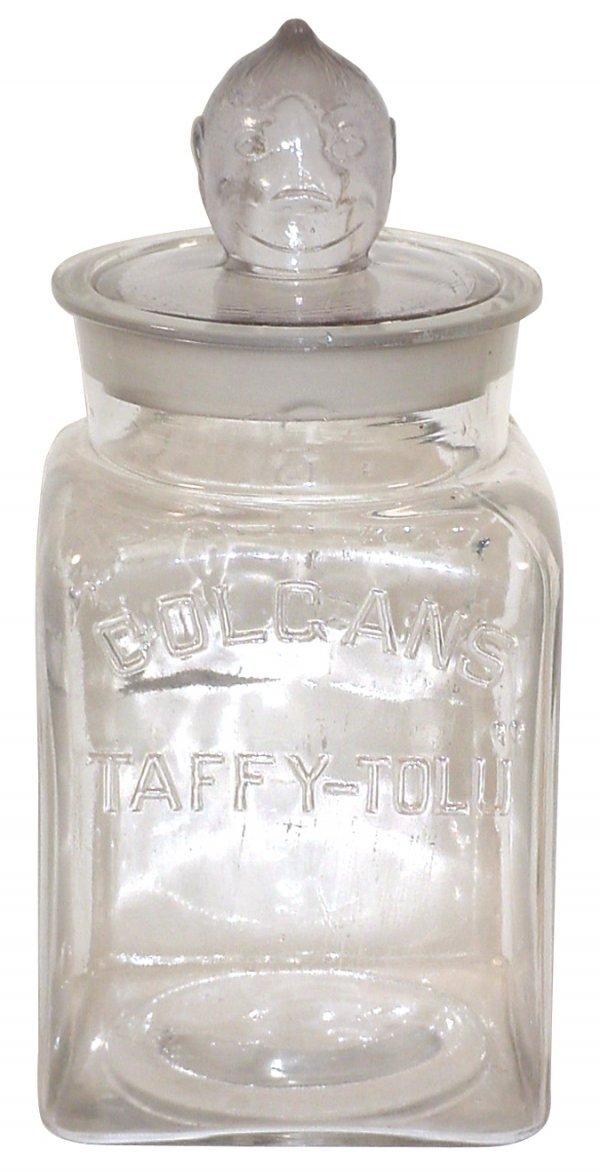 458: Colgan's Taffy-Tolu Chewing Gum jar, embossed glas