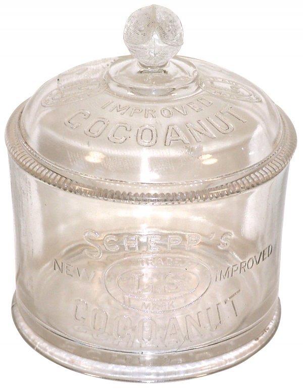 459: Schepp's Cocoanut display jar, embossed glass w/or