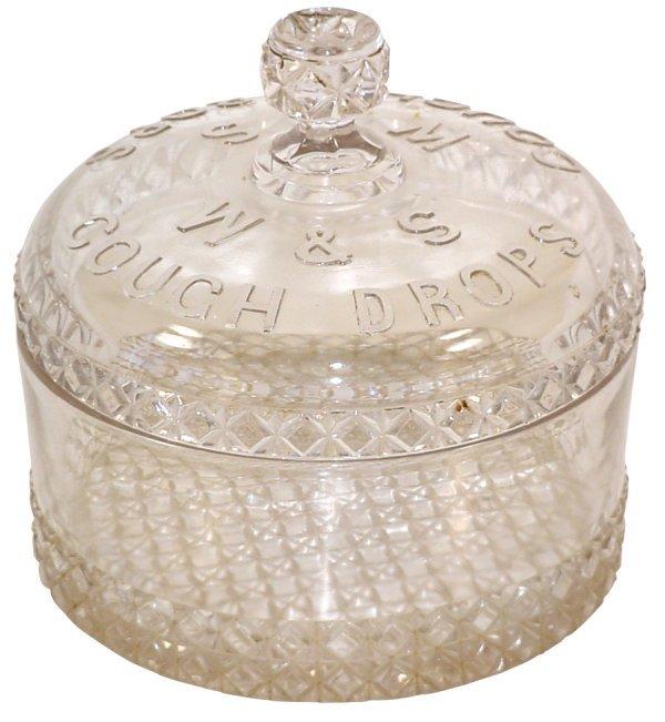 460: W&S Cough Drops display jar, heavily embossed & qu