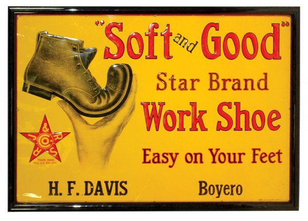 465: RJ & RS Star Brand Work Shoe sign, colorful litho