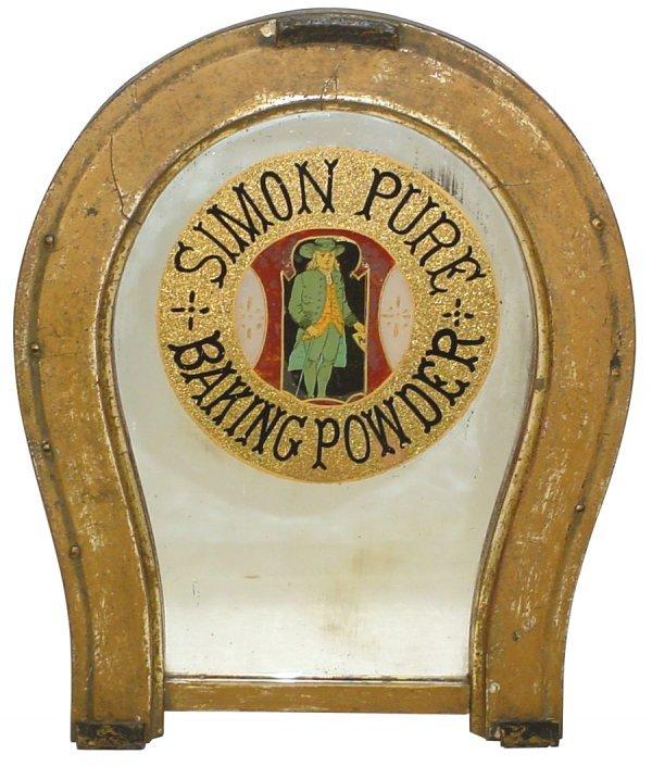 467: Simon Pure Baking Powder mirror, reverse paint on