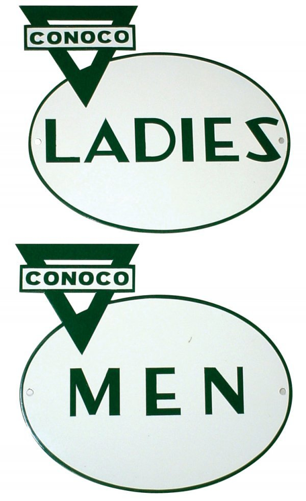 468: Petroliana, porcelain Conoco Men & Ladies restroom