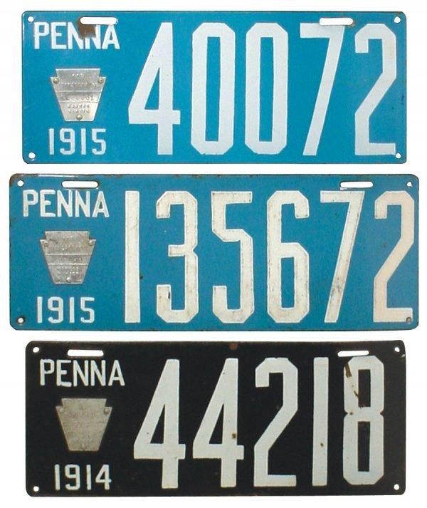 470: Petroliana, porcelain license plates (3), 1914 & 1