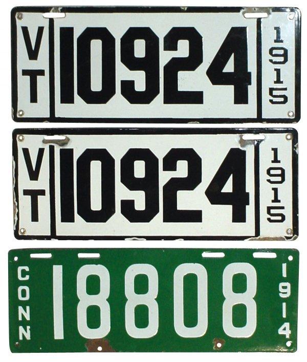 471: Petroliana, porcelain license plates (3), Vermont