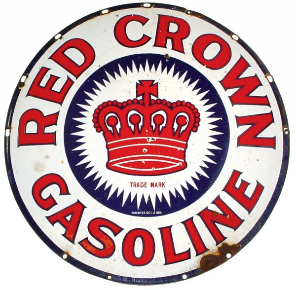 473: Petroliana, porcelain Red Crown Gasoline 2-sided s