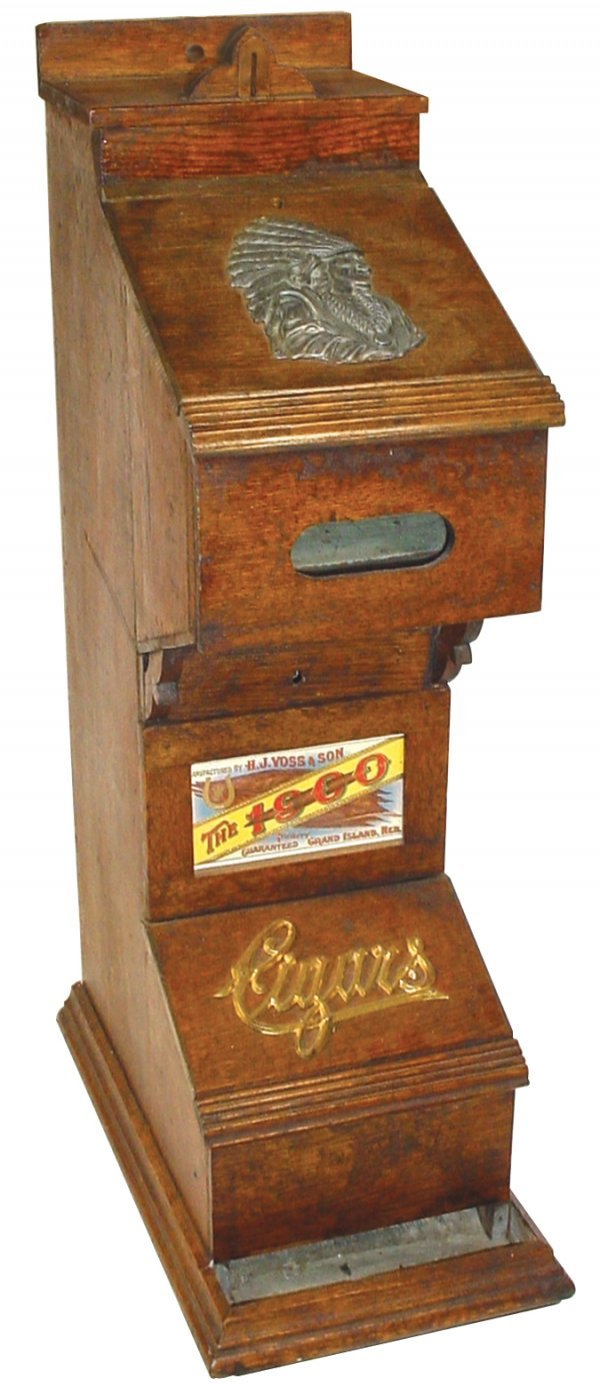 810: Coin operated cigar vending machine, 5 Cent, wood
