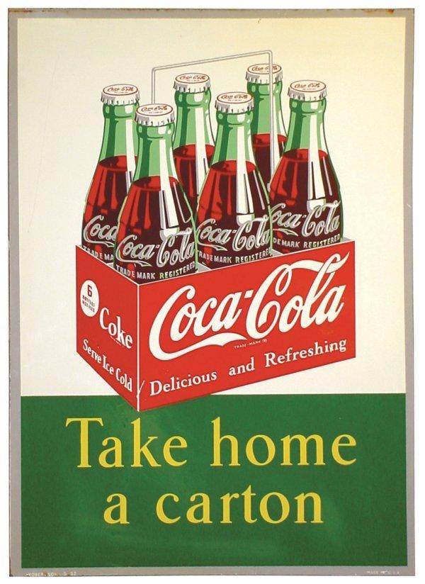 """955: Coca-Cola sign, litho on tin, """"Take Home a Carton"""""""