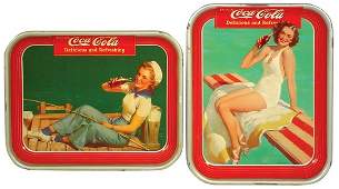 972 CocaCola serving trays 2 1939 Swimsuit Girl
