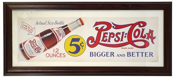 1161: Pepsi-Cola sign, litho on paper showing the Bigge