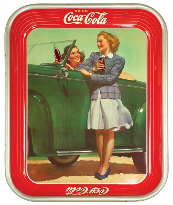 1221: Coca-Cola serving tray, 1942 Roadster Girl, litho