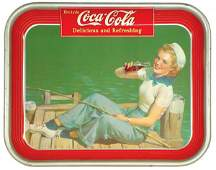 1223 CocaCola serving tray 1940 Sailor Girl litho o