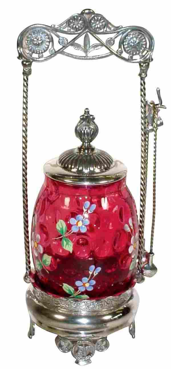 1452: Victorian pickle castor, cranberry thumbprint ins