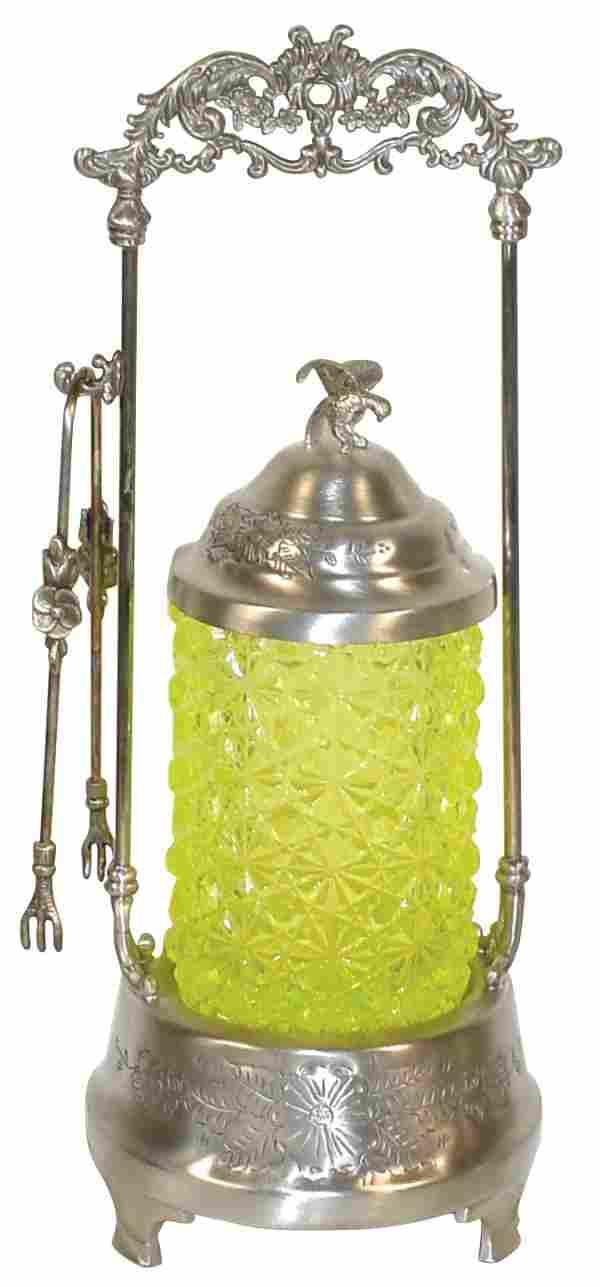 "Victorian pickle castor, Vaseline glass ""Daisy &"