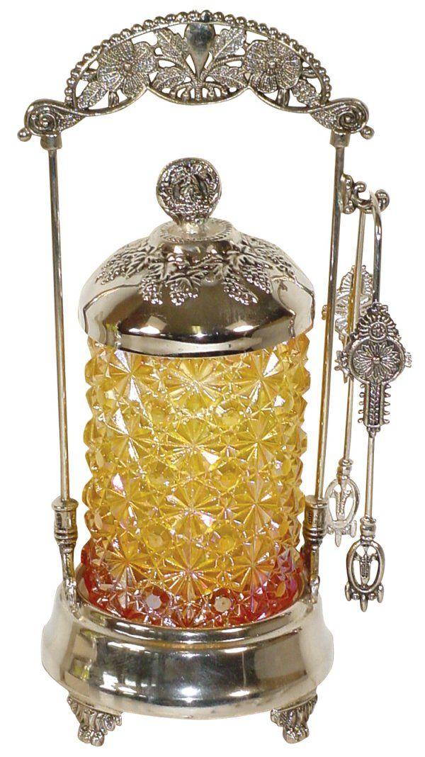 "Victorian pickle castor, amber ""Daisy & Button"" g"