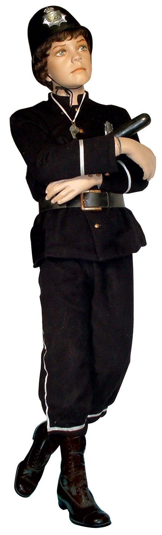 1698: Child policeman mannequin, young boy, composition