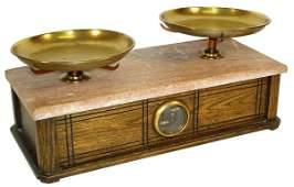 1744: Druggist scale, oak case w/chocolate marble top,
