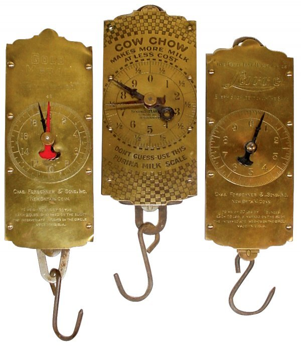 1812: Advertising scales (3), Purina Cow Chow, 60# Gold