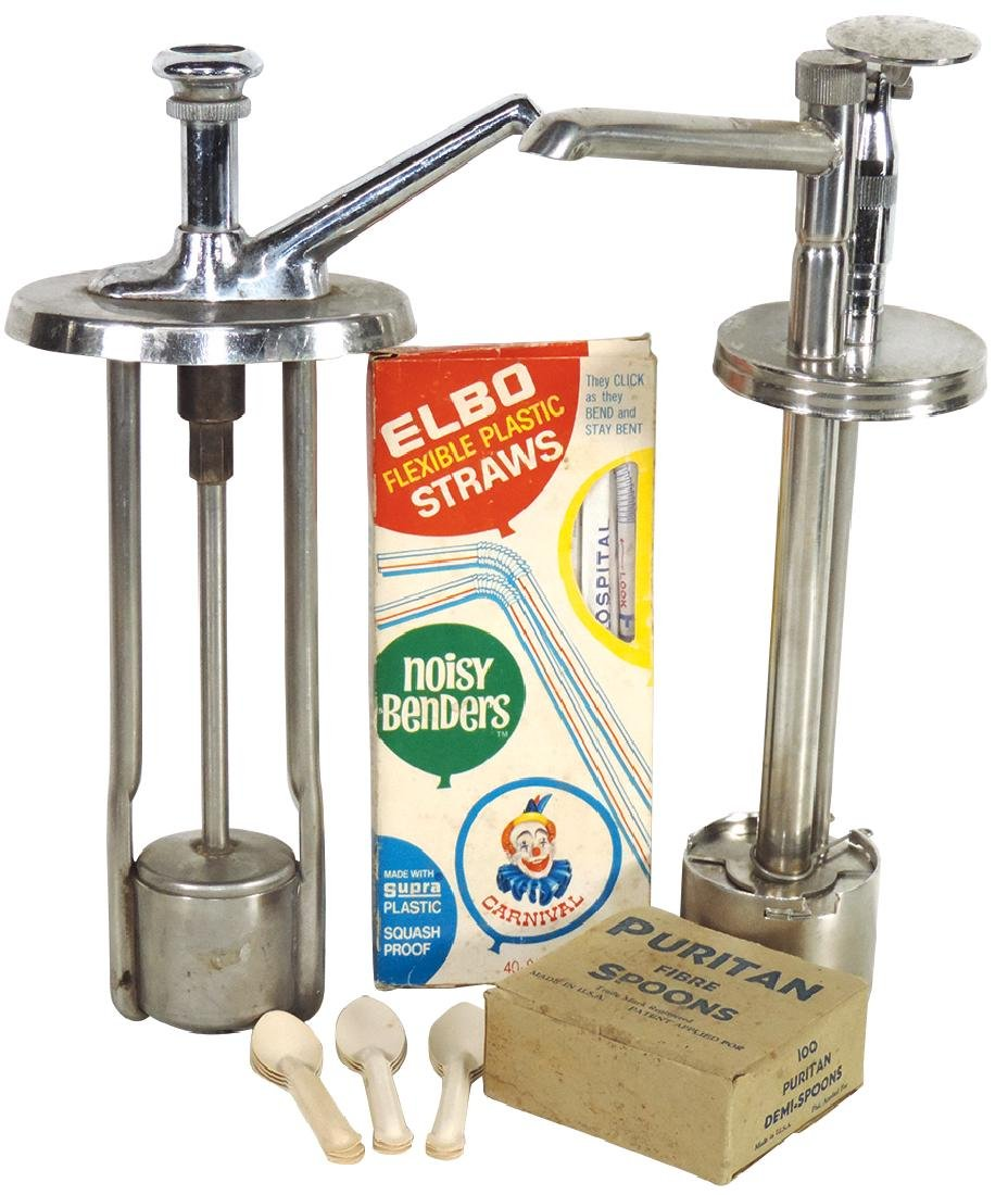 Soda fountain syrup pumps, straws & spoons (4), two