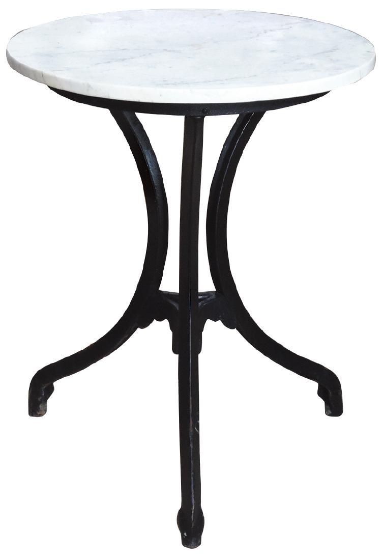 Soda fountain ice cream table, 3-legged cast iron base