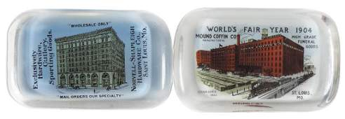 Advertising paperweights 2 1904 Worlds Fair Mound