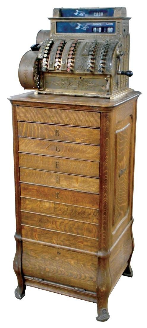 Country store cash register, National quarter-sawn oak