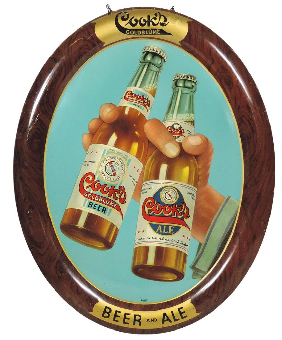Breweriana sign, Cook's Beer and Ale, large oval w/hand