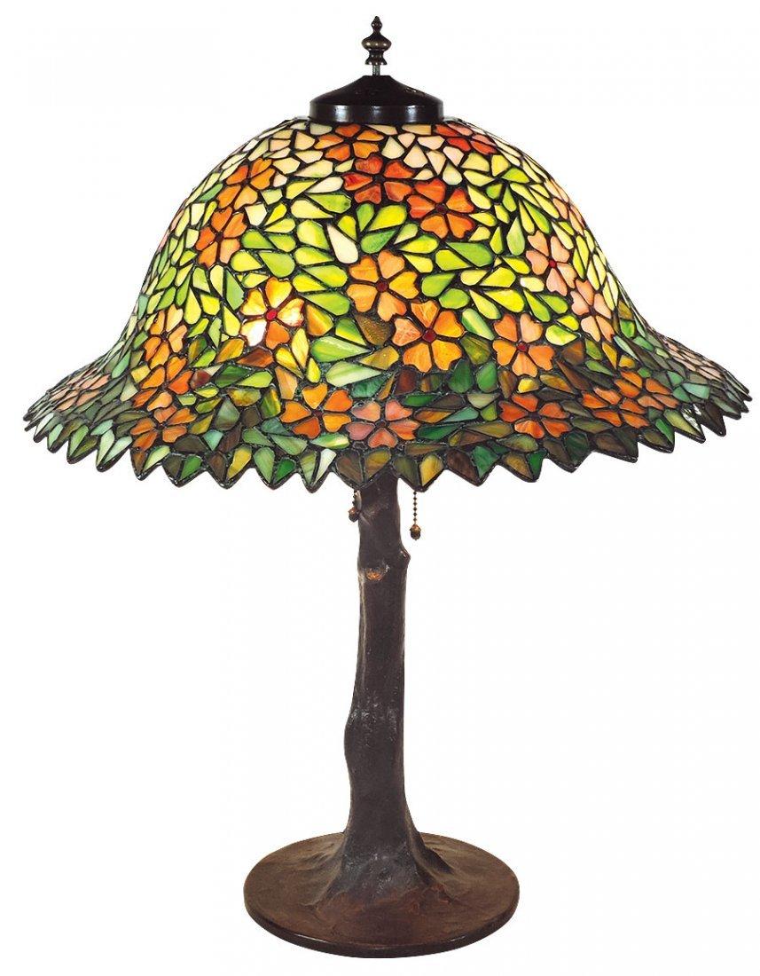 Lighting, table lamp, signed Handel on shade & bronzed
