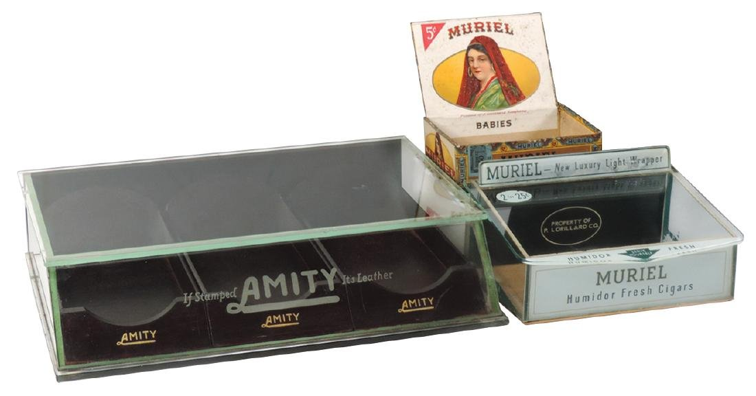 Country store display cases (2), Amity Leather