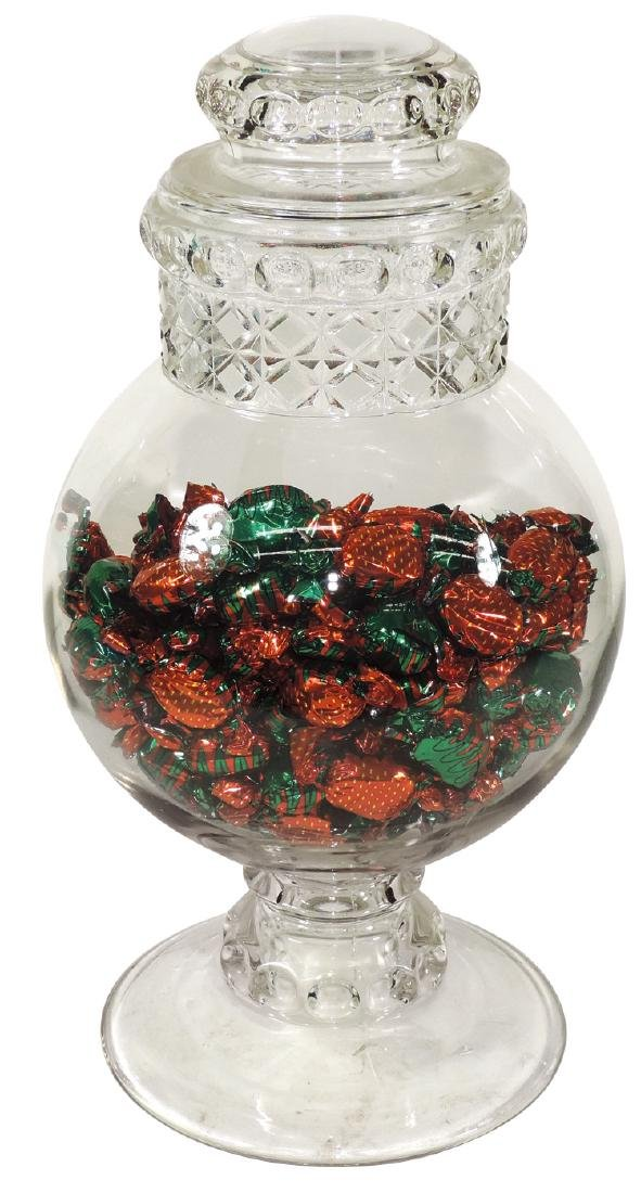 Candy show jar, large Dakota globe pedestal jar
