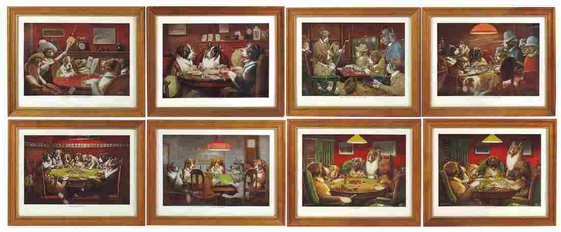 Card playing dogs, dogs playing poker (8), litho on