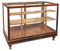 Country store display case oak floor model wcast iron