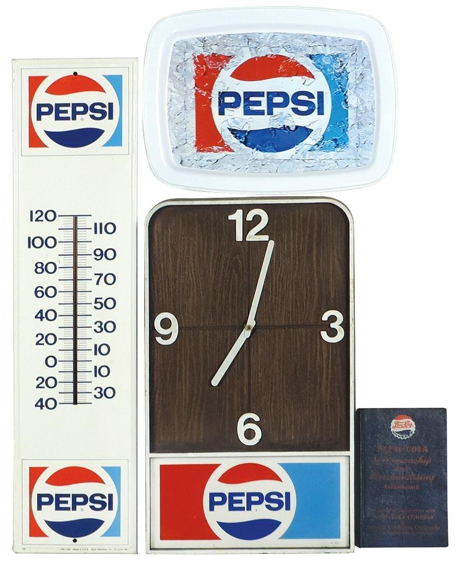 Pepsi-Cola items (4), plastic clock (working), serving