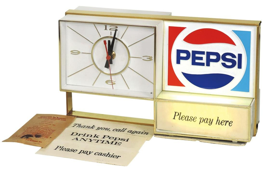 Pepsi-Cola cash register sign, light-up mfgd by The