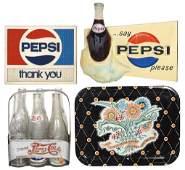 Pepsi-Cola items (4), change pad, metal tray, molded
