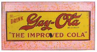 Soda fountain sign GayOla The Improved Cola litho