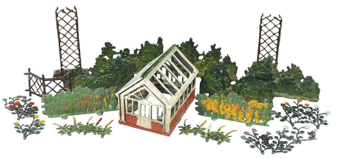 Britains lead figures (approx 130), flowers, garden