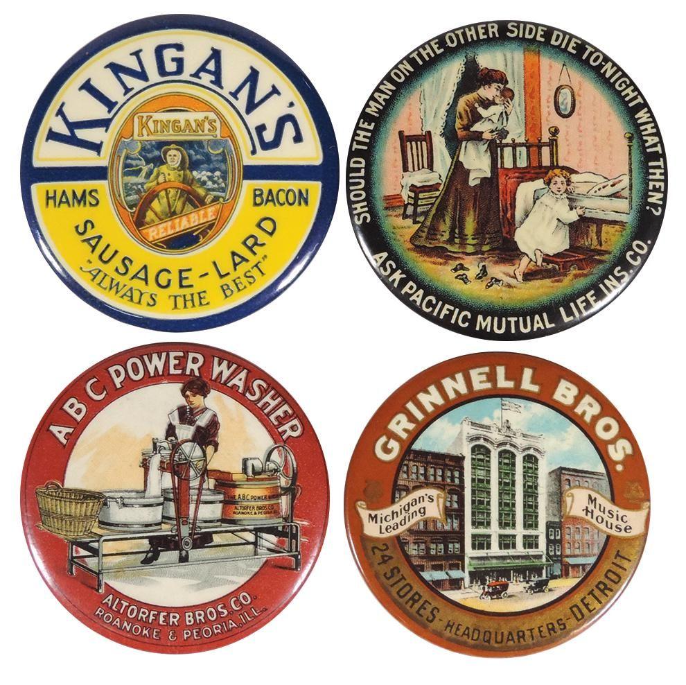 Advertising pocket mirrors (4), Kingan's Sausage-Lard,