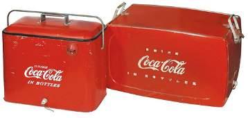 Coca-Cola coolers (2), embossed metal w/rotating